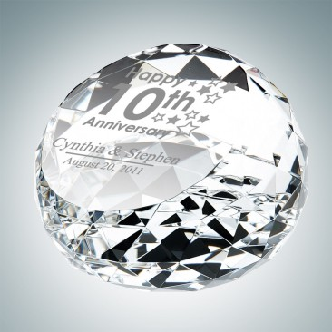 Clear Gem Cut Slant Dome Paperweight