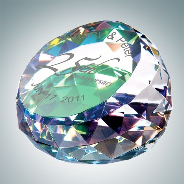 Color Coated Gem Cut Round Engraved Optical Crystal Paperweight