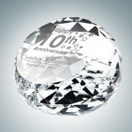 Clear Gem Cut Round Engraved Optical Crystal Paperweight