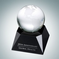 Clear Ocean Globe with Black Crystal Base