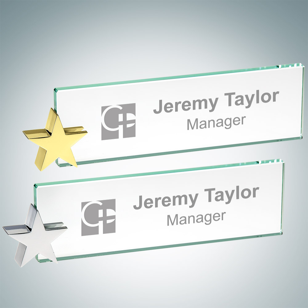 Nameplate with Star holder – Chrome