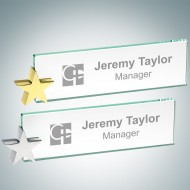 Engraved Jade Crystal Desk Nameplate with Star Holder