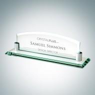 Engraved Jade Crystal Desk Nameplate with Aluminum Holder