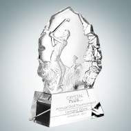 Male Golfer Engraved Optic Crystal Thriving Award