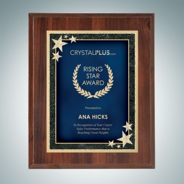 High Gloss Cherrywood Finish Plaque - Blue Starburst Plate