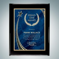 Black Piano Finish Plaque - Blue Rising Star Plate