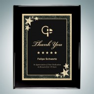 Black Piano Finish Plaque - Black Starburst Plate