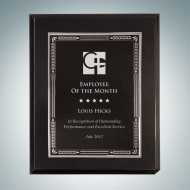 High Gloss Blackwood Finish Plaque - Silver Embossed Plate