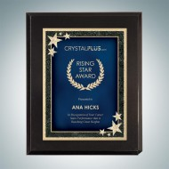 High Gloss Black Plaque - Blue Starburst Plate
