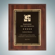 High Gloss Cherrywood Finish Plaque - Gold Embossed Plate