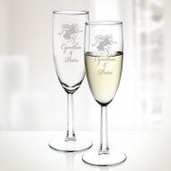 Engraved 6oz Molten Glass Set of 2 Noblesse Flutes