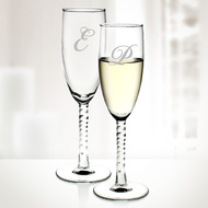 Set of 2 Engraved Molten Glass Angelique Twisted Champagne Flutes
