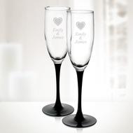 Set of 2 Engraved Molten Glass Signature Black Champagne Flutes