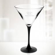 Engraved Molten Glass Signature Black Martini Glass