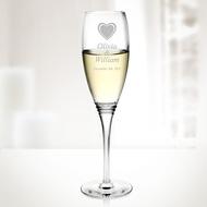 Set of 6 Engraved Molten Glass Diamax Cabourg Champagne Flutes