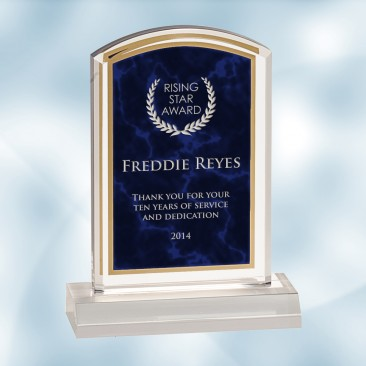 Royal Blue Marbleized Acrylic Award