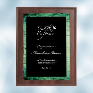 Green Galaxy Acrylic Cherry Wood Plaque