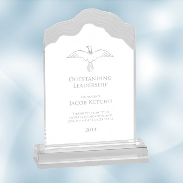 Clear Frosted White Cap Edge Acrylic Award