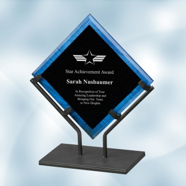 Blue Galaxy Acrylic Plaque Award with Iron Stand
