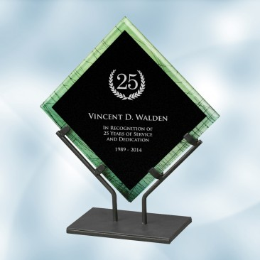 Green Galaxy Acrylic Plaque Award with Iron Stand