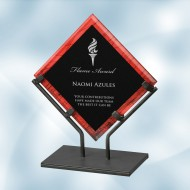 Red Galaxy Acrylic Plaque Award with Iron Stand