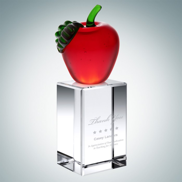 Red Apple on Column Crystal Base