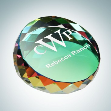 Color Coated Gem-Cut Round Paperweight