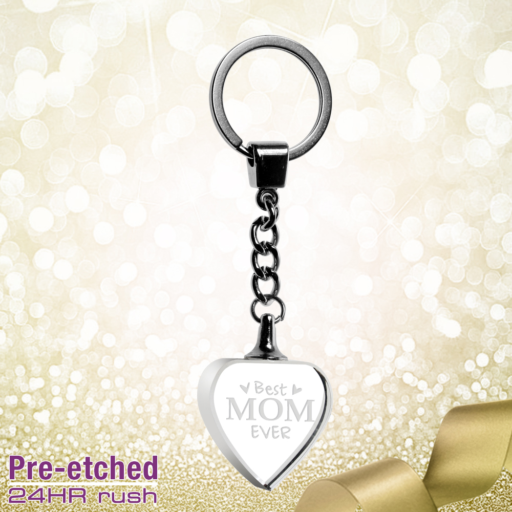 Pre-etched Heart Keychain for Mom #