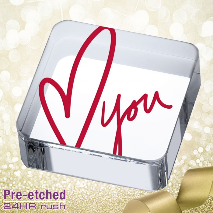 Pre-etched Love Square Paperweig