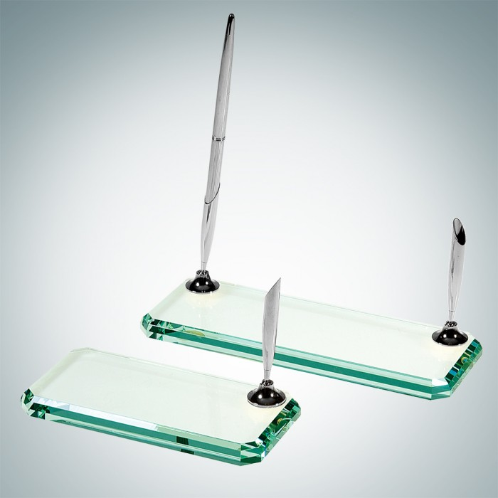 Beveled Glass Silver Pen Set