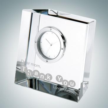 Pre-Designed Slanted Block Clock Gift for Mom
