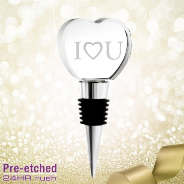 Pre-etched Love Heart Wine Stopper