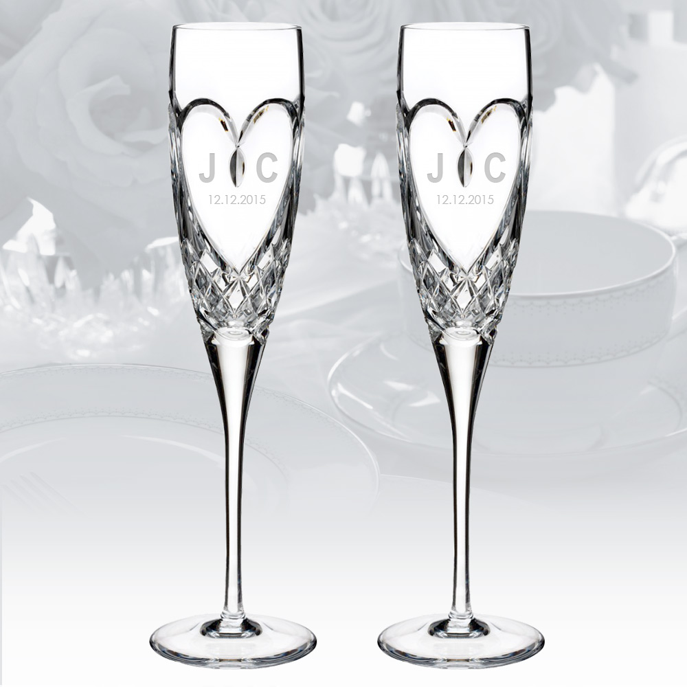 Image Personalized Waterford Love True Love Flute 5oz, Pair