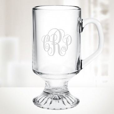 Monogrammed 10oz Irish Coffee Footed Glass Mug