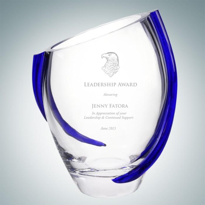 Cobalt Swirl Glass Vase