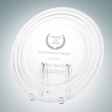 Contour Glass Charger Plate with Acrylic Stand