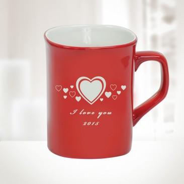 10oz Red Ceramic Round Corner Mug