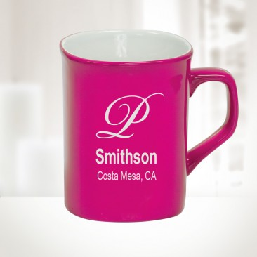 10oz Pink Ceramic Round Corner Mug