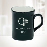 10oz Black Ceramic Round Corner Mug