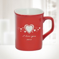 10oz Red Ceramic Round Corner Mug