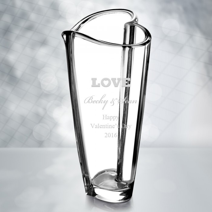 Wedding Anniversary Orrefors Heart Vase Personalized Gift