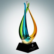 Art Glass The Tripod Award with Black Crystal Base