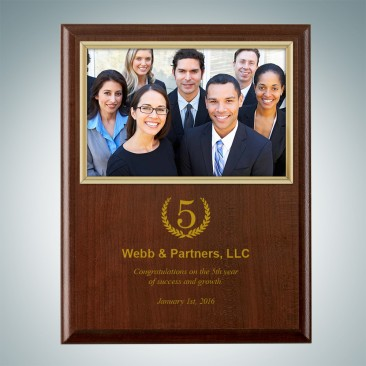 Genuine Cherrywood Finish Vertical Photo Frame Plaque