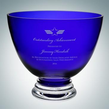 Cobalt Blue Footed Glass Bowl