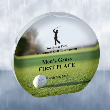 Sublimation Color Imprinted Beveled Circle Acrylic Golf Award