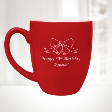 16oz Red Ceramic Bistro Mug