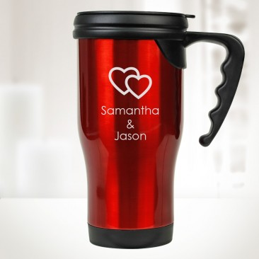 Red Stainless Steel Travel Mug with Handle 14oz
