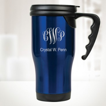 14 oz. Blue Stainless Steel Travel Mug with Handle