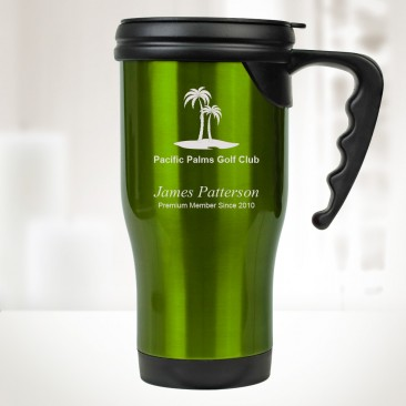 14 oz. Green Stainless Steel Travel Mug with Handle