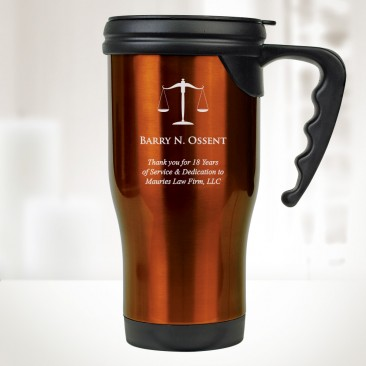 Orange Stainless Steel Travel Mug with Handle 14oz